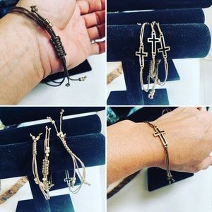 HAND MADE Cross Bracelet in Brown Cord Adjustable